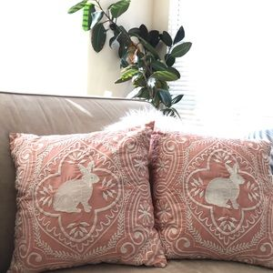 Two Pier 1 Embroidered Easter Bunny Throw Pillows